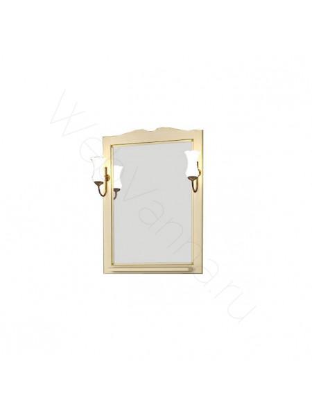 Зеркало Асб Верона 65 см, бежевое/патина, с подсветкой