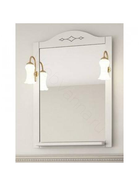 Зеркало Асб Флоренция Витраж 105 см, белое/патина, с подсветкой