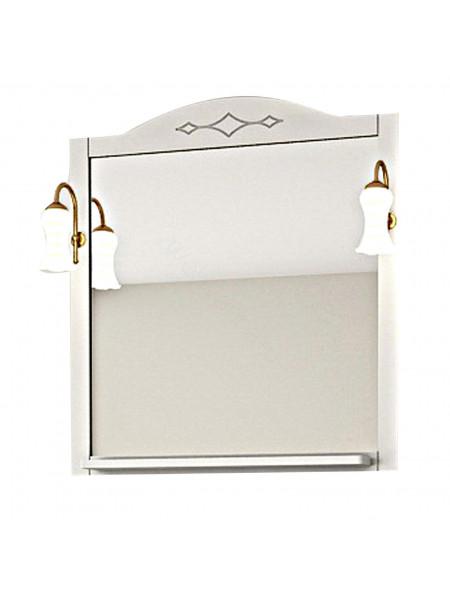 Зеркало Асб Флоренция Квадро 60 см, белое/патина, с подсветкой