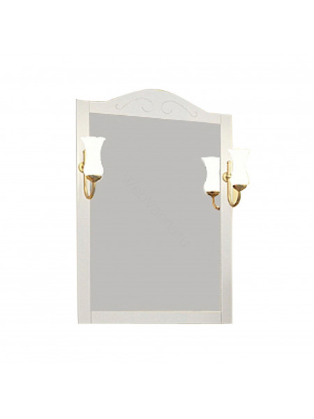 Зеркало Асб Флоренция 65 см, белое/патина, с подсветкой