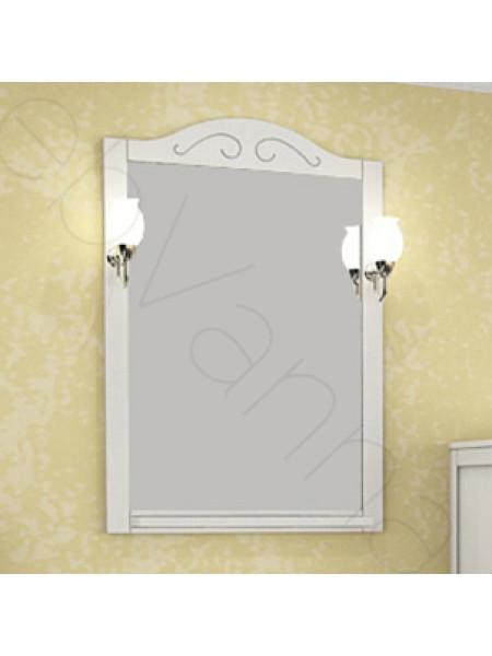 Зеркало Асб Флоренция 105 см, белое/патина, с подсветкой