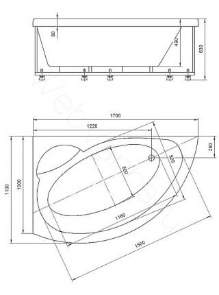 Акриловая ванна Акватек Аякс-2 170x110 левая, гидромассаж, пневмоуправление