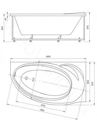 Акриловая ванна Акватек Бетта 160x97 правая, гидро и аэромассаж, пневмоуправление