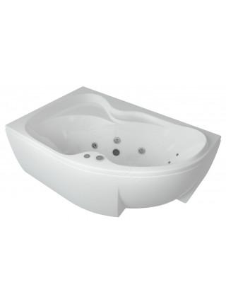 Акриловая ванна Акватек Вега 170x105 левая, гидро и аэромассаж, пневмоуправление