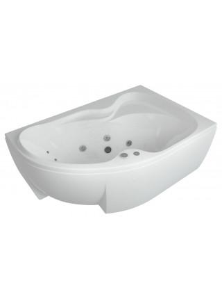 Акриловая ванна Акватек Вега 170x105 правая, гидро и аэромассаж, пневмоуправление
