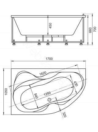 Акриловая ванна Акватек Вега 170x105 левая, гидромассаж, пневмоуправление