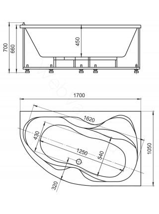 Акриловая ванна Акватек Вега 170x105 правая