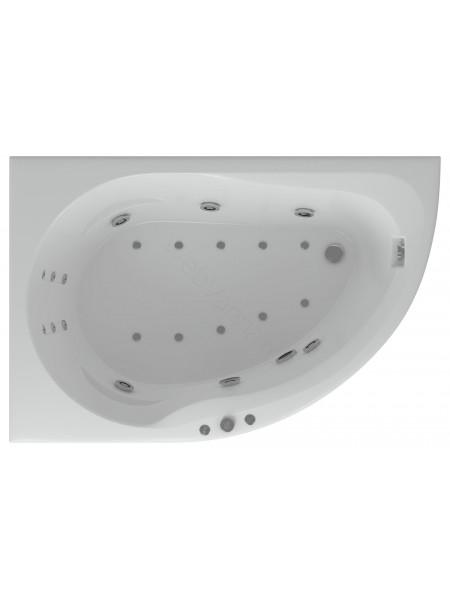 Акриловая ванна Акватек Вирго 150x100 левая, гидро и аэромассаж, пневмоуправление