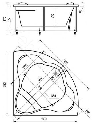 Акриловая ванна Акватек Галатея 135x135 гидро и аэромассаж, пневмоуправление