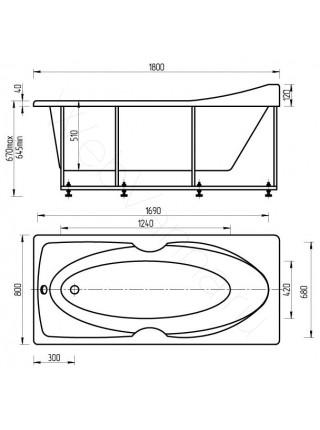 Акриловая ванна Акватек Европа 180x80