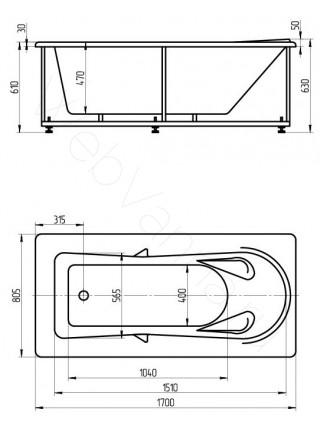Акриловая ванна Акватек Леда 170x80 аэромассаж, пневмоуправление