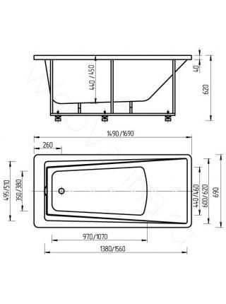 Акриловая ванна Акватек Либра 150x70 аэромассаж, пневмоуправление