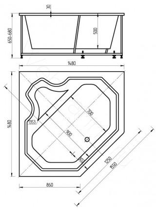 Акриловая ванна Акватек Лира 148x148 гидро и аэромассаж, электронное управление