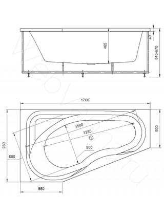 Акриловая ванна Акватек Медея 170x95 левая, гидро и аэромассаж, пневмоуправление