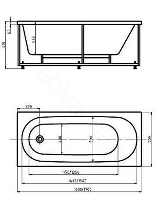 Акриловая ванна Акватек Оберон 160x70 гидро и аэромассаж, электронное управление