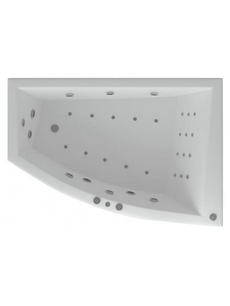 Акриловая ванна Акватек Оракул 180x125 правая, гидро и аэромассаж, пневмоуправление