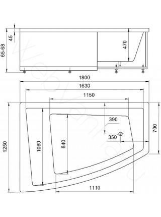 Акриловая ванна Акватек Оракул 180x125 левая