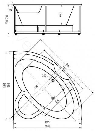 Акриловая ванна Акватек Поларис-1 140x140 гидро и аэромассаж, пневмоуправление