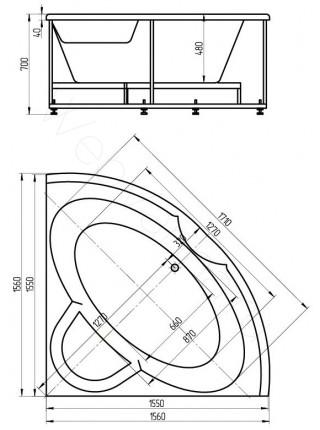 Акриловая ванна Акватек Поларис-2 155x155 гидромассаж, пневмоуправление