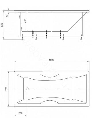 Акриловая ванна Акватек Феникс 160x75 аэромассаж, пневмоуправление