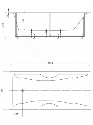 Акриловая ванна Акватек Феникс 180x85 аэромассаж, пневмоуправление