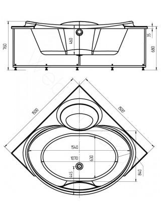 Акриловая ванна Акватек Эпсилон 150x150
