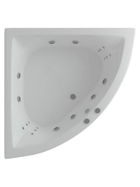 Акриловая ванна Акватек Юпитер 150x150 гидро и аэромассаж, пневмоуправление