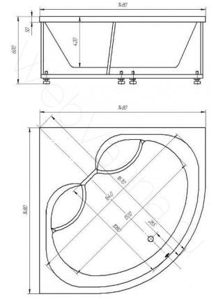 Акриловая ванна Акватек Борей-3 148x148 гидро и аэромассаж, пневмоуправление