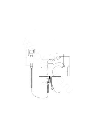 Смеситель для раковины Aksy Bagno Biti 322 bronze с гигиеническим душем