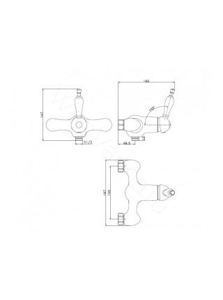 Душевая стойка Aksy Bagno Fa410-2005-2004L chrome, хром, хром