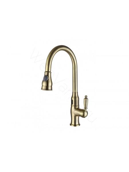 Смеситель для кухни Aksy Bagno TL-18001-bronze бесконтактный, с выдвижным изливом