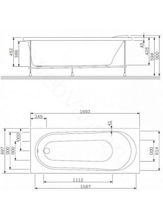 Акриловая ванна AM.PM Joy 170х70