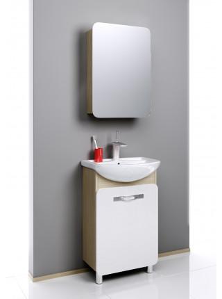 Зеркальный шкаф Aqwella Вега 55 см, дуб сонома