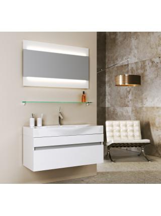Зеркало Aqwella Бергамо 100 см, с подсветкой, белое