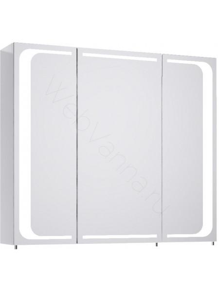 Зеркальный шкаф Aqwella Милан 80 см, белый, с подсветкой