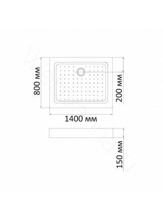 Душевой поддон Bandhours Rectangular 814-Tray 140х80 см