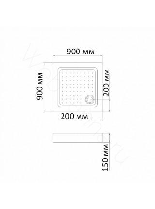 Душевой поддон Bandhours Square 99-Tray 90х90 см