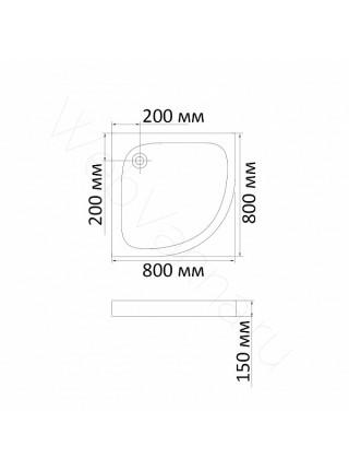 Душевой поддон Bandhours Alfa-Tray 80x80 см