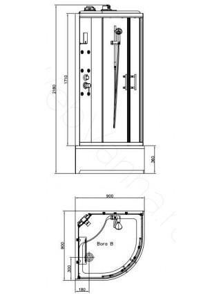 Душевая кабина Bandhours Bora B 90х90, прозрачное стекло