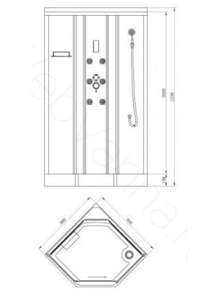 Душевая кабина Bandhours Clio A 90х90, прозрачное стекло