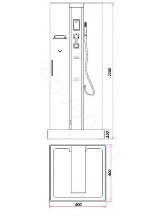 Душевая кабина Bandhours Tower 90х90, прозрачное стекло