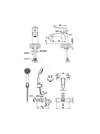 Набор смесителей Bravat Drop 3 в 1 F00308C