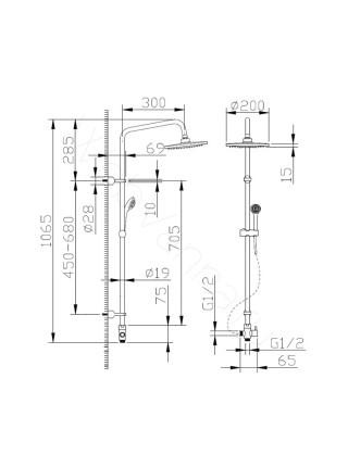 Душевая стойка Bravat Fit D283CP-2-RUS, хром