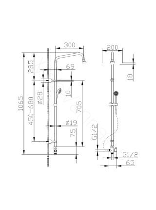 Душевая стойка Bravat Fit D283CP-2A-RUS, хром