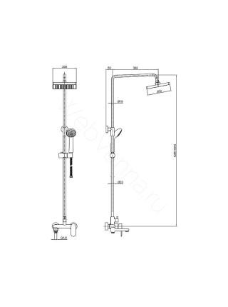 Душевая стойка Bravat Opal-C F6125183CP-A1-RUS, хром, термостат