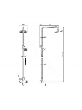 Душевая стойка Bravat Opal F9125183CP-A1-RUS, хром