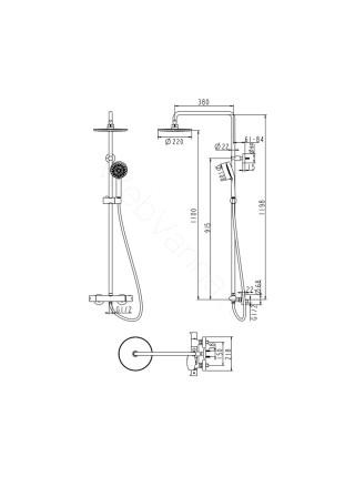 Душевая стойка Bravat Waterfall F939114C-A5-RUS, хром, термостат, с изливом