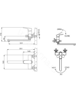 Смеситель для ванны Bravat Pure F6105161C-01A, с динным изливом