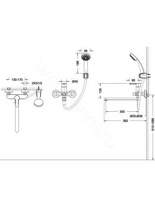 Смеситель для ванны Bravat Stream F63783C-LB, с длинным изливом