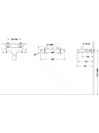 Смеситель для ванны Bravat Stream F63984C-01B термостат